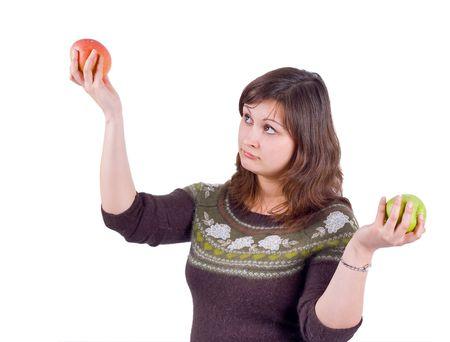 decide: ni�a decide que comer manzana verde o roja