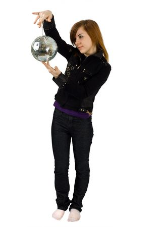 a girl with a glitterball photo