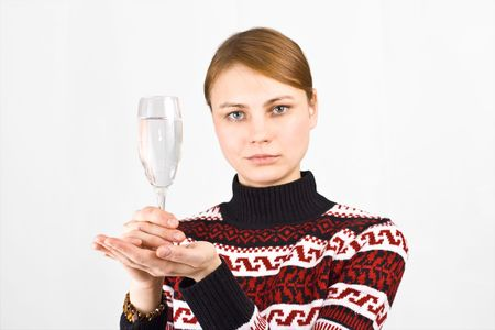 young woman with a full glass  Stock Photo - 2589993