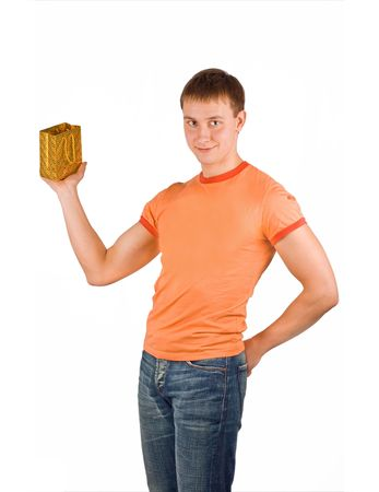 man holds his gift bag Stock Photo - 2591225