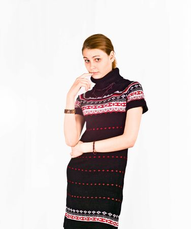 Pretty woman in warm winter knited dress  photo