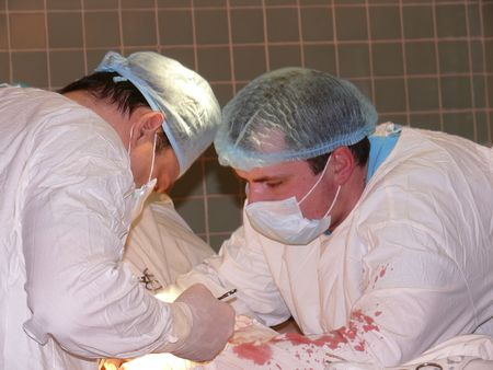 surgery and surgeon's work: a hard case operation Stock Photo - 2596269