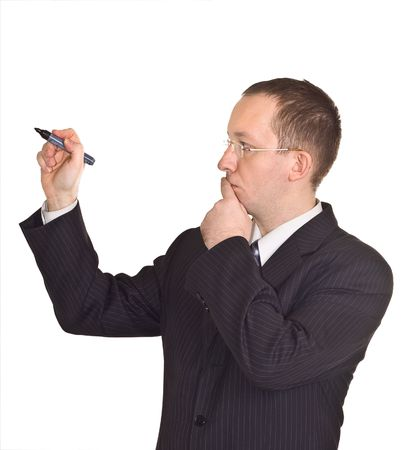 businessman thinking before to write on the whiteboard photo