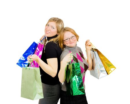 two shopping women - completely satisfied photo