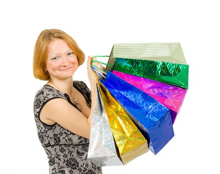happy shopping woman close-up Stock Photo