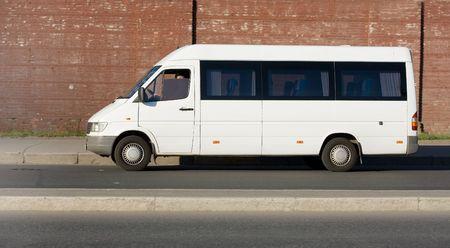 mini small passenger Tour van bus on road isolated Stock Photo - 2596565