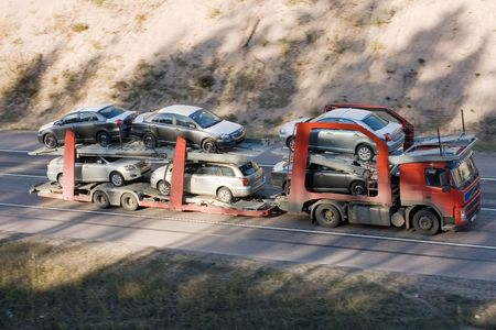 car carrier:   car carrier truck deliver new auto batch to dealer part of business vehicles series Stock Photo