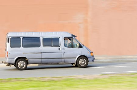 mini small passenger Tour van bus on road isolated Stock Photo - 2596356