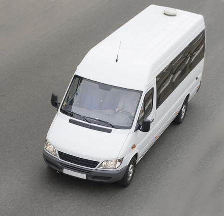 mini small passenger Tour van bus on road isolated Stock Photo - 2596419