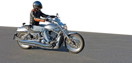 Bike racer on the track. Street speed race Stock Photo - 2596520