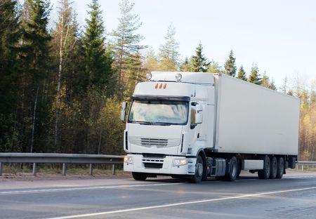 blank white trucktor trailer truck of Trucks series in my portfolio photo