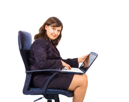 boss woamn in a office chair isolated photo