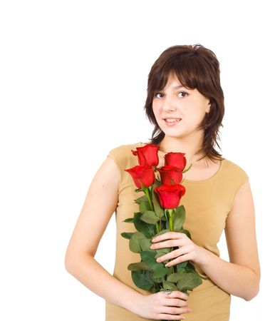 beautiful young girl with red roses Stock Photo - 2613271