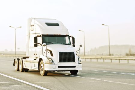 mack: white truck Stock Photo