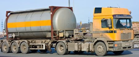 tanker truck moves chemicals  photo