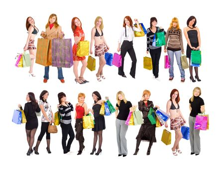 2 groups of shopping girls Stock Photo - 3268922