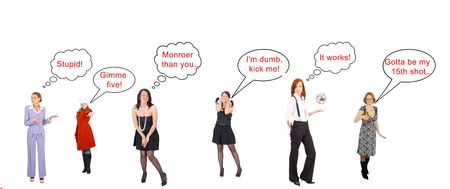 thinking balloon: comics: type in your own dialogues Stock Photo