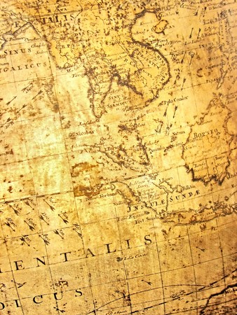 wall maps: fragment of ancient map Stock Photo