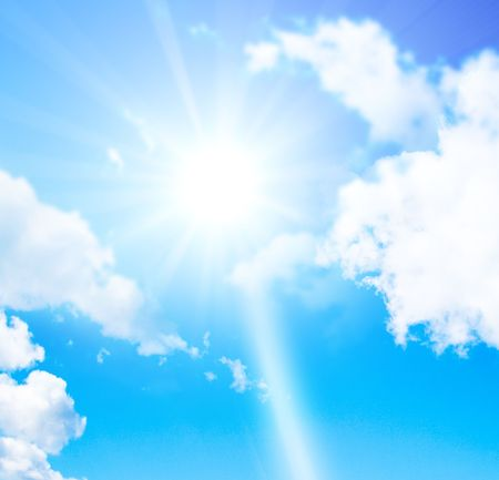 Sun shining in the sky between clouds Stock Photo - 4899455