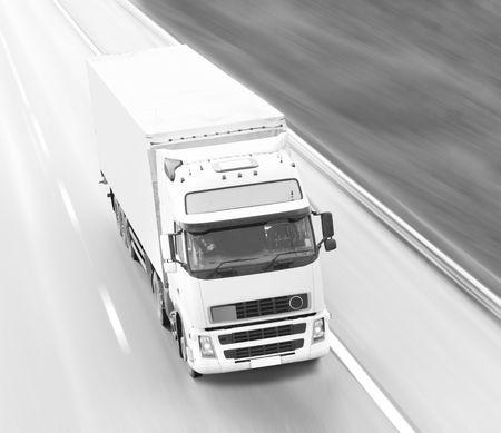 Black and white cargo truck photo photo
