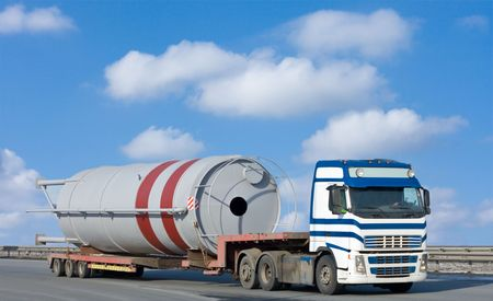 moves: truck moves huge industrial construction