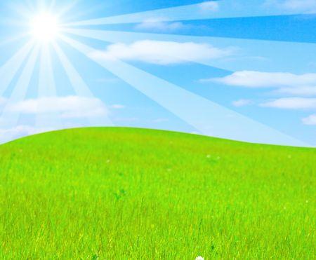 gentle hill in a beautiful field photo