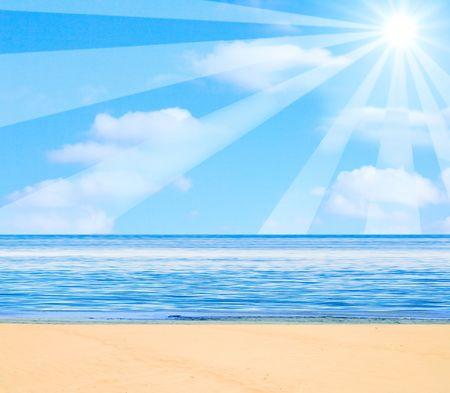 cartoon wind: Cartoon sun illustration over sea