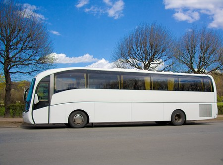 Blank modern bus Stock Photo