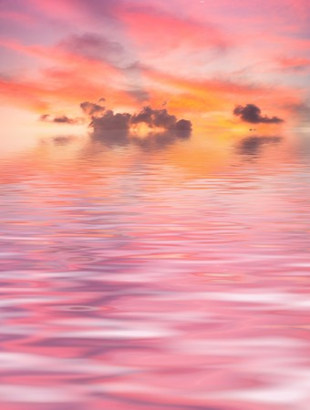 pink sunset: Red Sunset over Sea