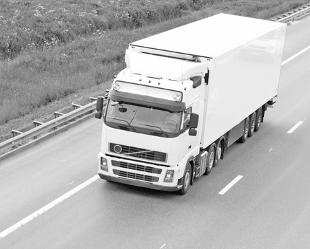 Black and white container truck photo
