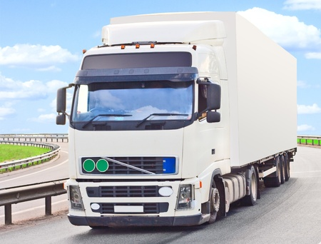 truck makes a turn photo