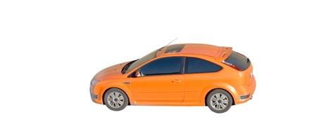 auto focus: orange car isolated Stock Photo