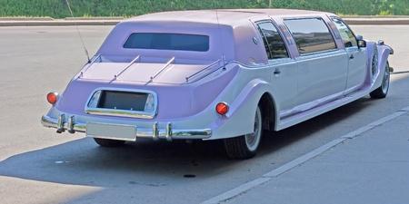 touring car: white wedding retro car Editorial