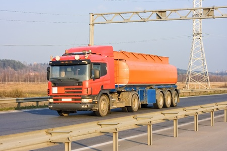 tanker truck on industrial road photo