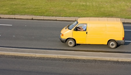 yellow blank delivery truck isolated of my truck series photo