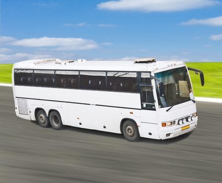 Big white blank bus on road Stock Photo - 10068117