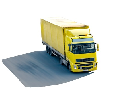 Yellow truck with shade isolated photo