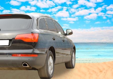 suv: Suv car on a beach Stock Photo