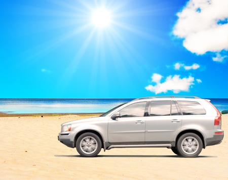 offroad car: Suv car on a beach Stock Photo