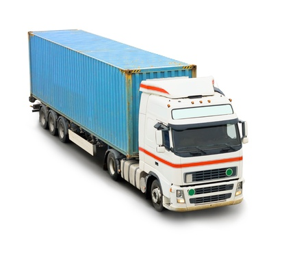 Blue container truck isolated over white photo