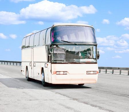 Big white blank bus on road Stock Photo