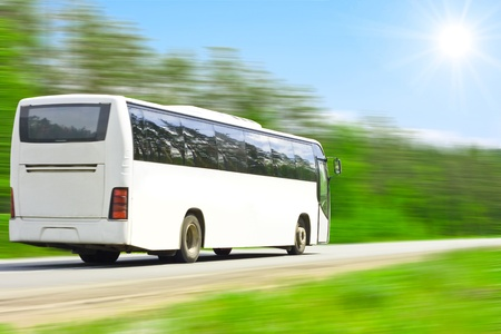 blank bus full of happy tourists