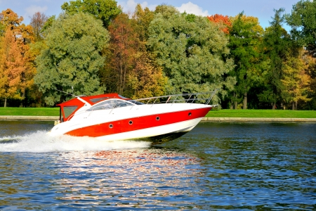 yellow boats: Speed boat fast and furious Stock Photo