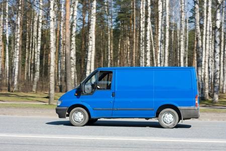 blue blank delivery van photo