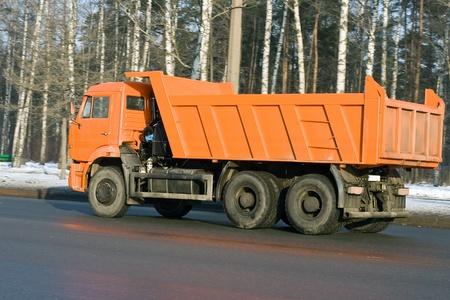 orange dump truck photo