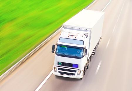 blank ad-ready white truck - of Trucks multiple series  photo