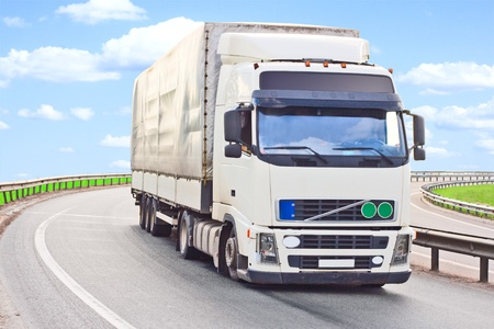 truck makes a turn Stock Photo