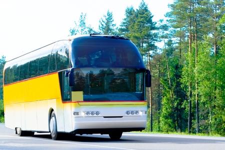 """żółty autobus na drodze leśnej - z serii """"autobusy"""""""