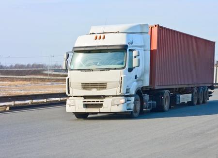 Rote Container-LKW Standard-Bild