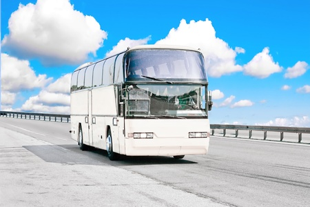 Big white blank bus on road Stock Photo